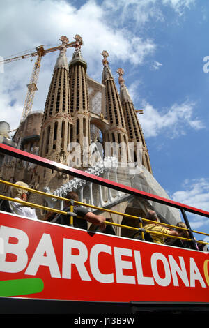 Tourist bus in Barcelona near Sagrada Familia, Spain - Stock Photo