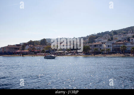 View of beach in Kinaliada which is one of Prince Islands also known as Adalar in Istanbul. Summer houses, small - Stock Photo
