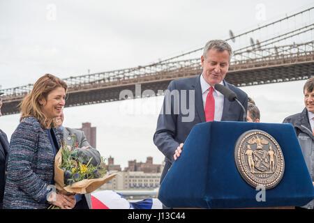 New York, USA. 17th Apr, 2017. NYC Mayor Bill de Blasio and Deputy Mayor Alicia Glen participated in the christening - Stock Photo