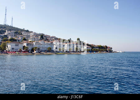 View of beach in Kinaliada which is one of Prince Islands also known as Adalar in Istanbul. Summer houses are in - Stock Photo