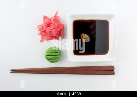 soy sauce, ginger and wasabi - Stock Photo