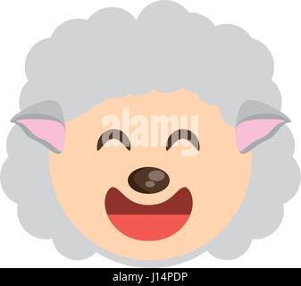 cute face sheep animal cheerful - Stock Photo