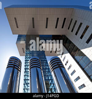 Crane House, Modern Architecture, Rheinauhafen, Cologne, Rhineland, North Rhine-Westphalia, Germany - Stock Photo