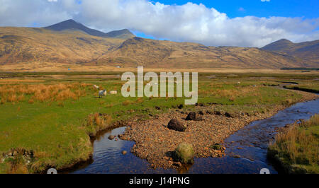 Isle of Mull Scotland UK beautiful rural countryside scene with view to Ben More mountains - Stock Photo
