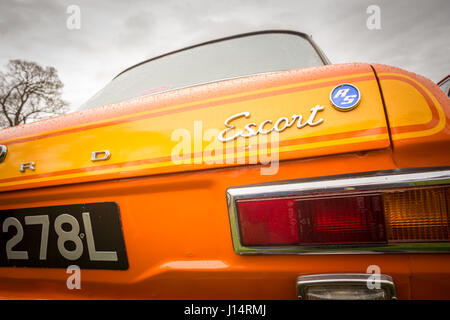 rear view of a vintage ford escort mark 1 - Stock Photo