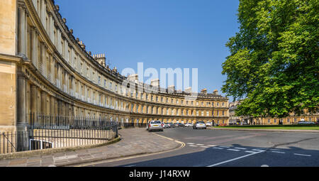 United Kingdom, Somerset, Bath, the Georgian architecture of the Circus, a circular space sourounded by large townhouses - Stock Photo