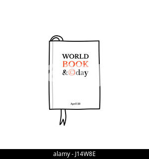 World Book and Copyright Day, April 23. Sketchy hand drawn book with a bookmark - Stock Photo