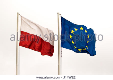 Polish and EU flags waving together - Stock Photo