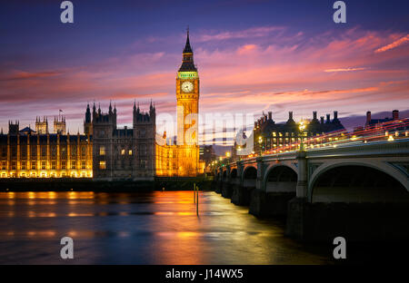 The Elizabeth Tower or Big Ben is one of the most known monuments in the world. It belongs to the Palace of Westminster. - Stock Photo