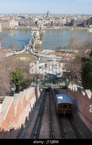 The Buda Castle Funicular, Clark Ádám tér, the Széchenyi Chain Bridge over the Danube, and Pest on the opposite - Stock Photo