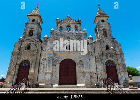Façade of the Guadalupe Church (Iglesia de Guadalupe) in Granada, Nicaragua, Central America - Stock Photo