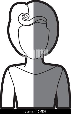 silhouette shading of faceless half body woman with eighties hairstyle - Stock Photo