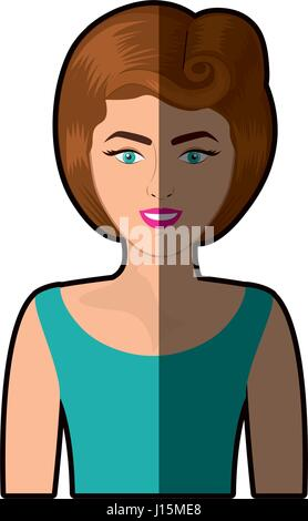 colorful shading realistic half body woman with blouse and eighties hairstyle - Stock Photo