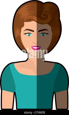colorful shading realistic half body woman with eighties hairstyle - Stock Photo