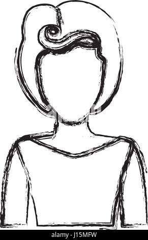 blurred silhouette drawing of faceless half body woman with eighties hairstyle - Stock Photo