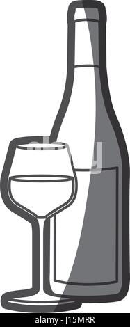 grayscale silhouette with bottle of wine and burgundy glass - Stock Photo