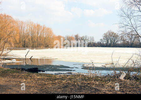 Early spring, the forest lake is freed of ice - Stock Photo