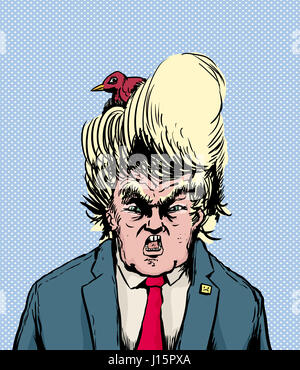 April 18, 2017. Caricature of screaming Donald Trump with bird nesting in his hair - Stock Photo
