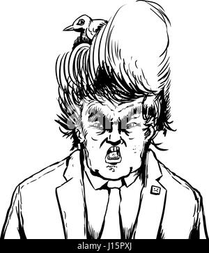 April 18, 2017. Caricature outline of yelling Donald Trump with bird nesting in his hair - Stock Photo