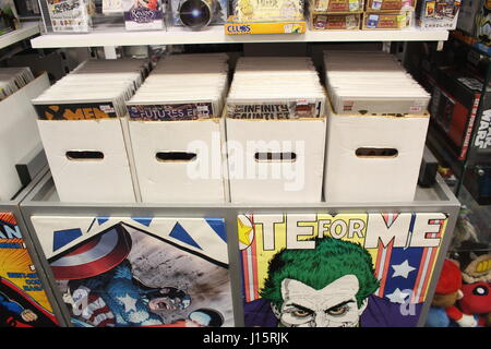 Shelves of a comic book shop in Yeovil, Somerset - Stock Photo