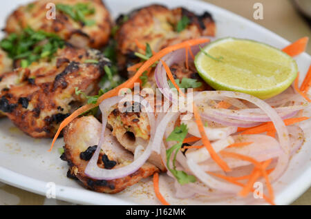 Chicken Malai Tikka Boneless piece, Indian dish. - Stock Photo