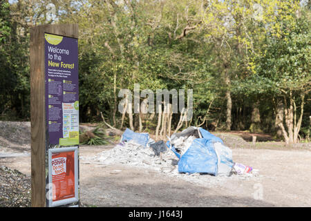 Fly tipping in the New Forest - Stock Photo