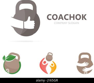 Vector of sport and like logo combination. Gym and best symbol or icon. Unique fitness and workout logotype design - Stock Photo