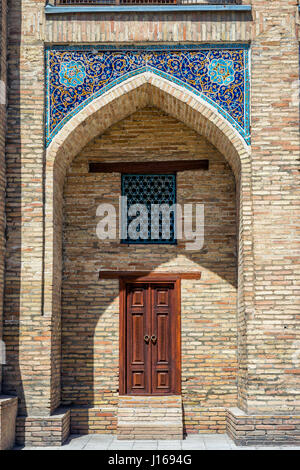 Decorated arches of the Kukeldash Madrasah next to Chorsu bazaar, Tashkent, Uzbekistan - Stock Photo