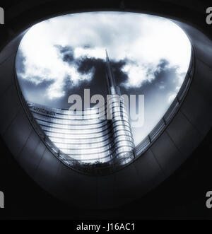 The Unicredit Tower in Milan, seen from below - Stock Photo