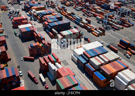 NEW JERSEY, USA: Aerial view of container port. A BRITISH aerial photographer has captured the human-built world - Stock Photo