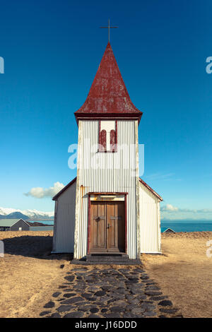 The hilltop church in Hellnar, a fishing village located on the Snaefellsnes peninsula, western Iceland - Stock Photo