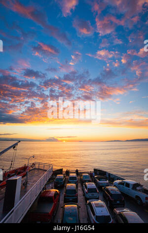 Cars Parked On Deck Of A British Columbia Ferry Vessel Moving Through The Salish Sea - Stock Photo