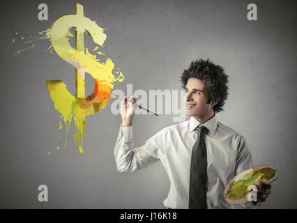 Businessman drawing dollar sign - Stock Photo
