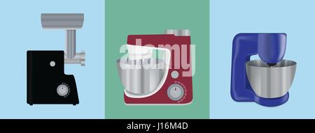 Set of Kitchen appliances. Electric mixer, meat mincer, food pro - Stock Photo