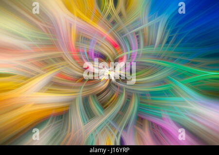 Colorful flowing lines swirling and mixing together - Stock Photo