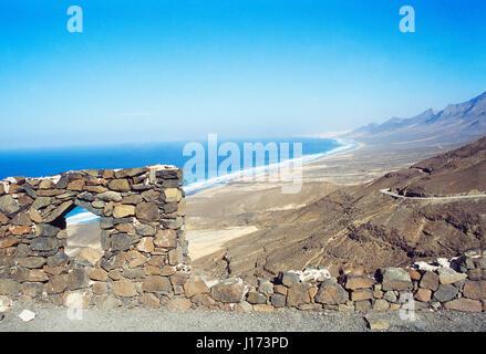 Panoramic view of Barlovento beach. Jandia Nature Reserve, Fuerteventura island, Canary Islands, Spain. - Stock Photo
