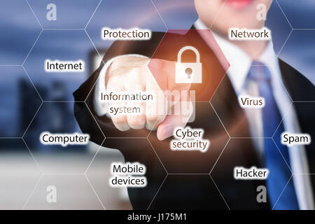 businessman pressing security button on virtual screens for internet and network security. Business, technology, - Stock Photo