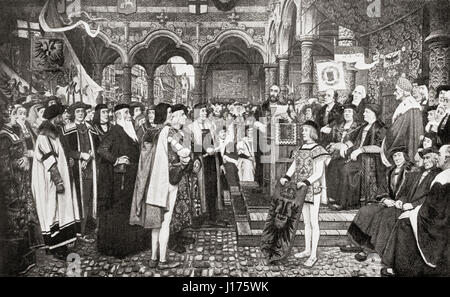 The inaugural ceremony of the Antwerp Exchange, Belgium in 1532.  From Hutchinson's History of the Nations, published - Stock Photo