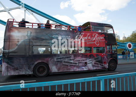 London, UK. 18th Apr, 2017. People take a Jack the Ripper bus tour in London, as Theresa May announces a snap General - Stock Photo