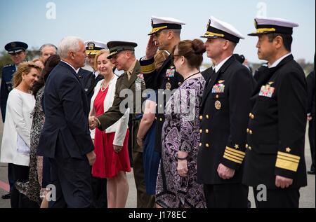 Michael Doan, Japan. 18th Apr, 2017. U.S. Navy Rear Adm. Matthew Carter, right, Commander, U.S. Naval Forces Japan, - Stock Photo