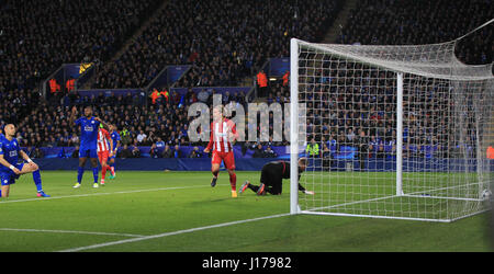Leicester, England, 18th, April, 2017.  Saul Niguez scores the first goal for Madrid during the UEFA Champions League - Stock Photo