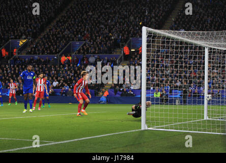 Leicester, England, 18th, April, 2017.   Saul Niguez scores the first goal for Madrid during the UEFA Champions - Stock Photo