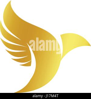 Isolated abstract gold color birds silhouettes logo on white background, wings and feathers elements logotype set - Stock Photo