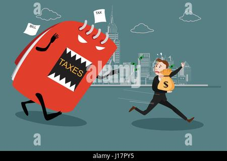 A vector illustration of businessman running away from tax for tax concept - Stock Photo