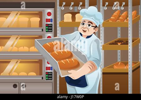 Cartoon Drawing Of An Oven Baked Bread In Black And White