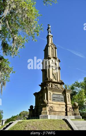 Confederate monument at Forsyth park Savannah, Georgia - Stock Photo