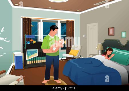 A vector illustration of father caring for a newborn child while mom sleeping - Stock Photo