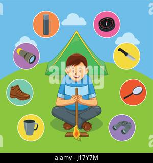 A vector illustration of man making fire with wood stick in forest for survival concept - Stock Photo