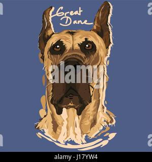 A vector illustration of Great Dane Painting Poster - Stock Photo