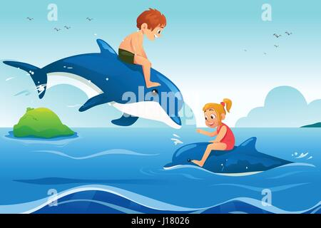 A vector illustration of Little Kids Swimming with Dolphins in the Ocean - Stock Photo